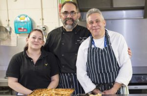Chef Mike Spackman who won cook of the year 2017 in the BBC Food and Farming Awards at work in the kitchen at Riverside's The Quays, Sittingbourne. With Mike is Jason Hurren, Assistant Community Chef, and Lisa Rogers, a resident at The Quays.