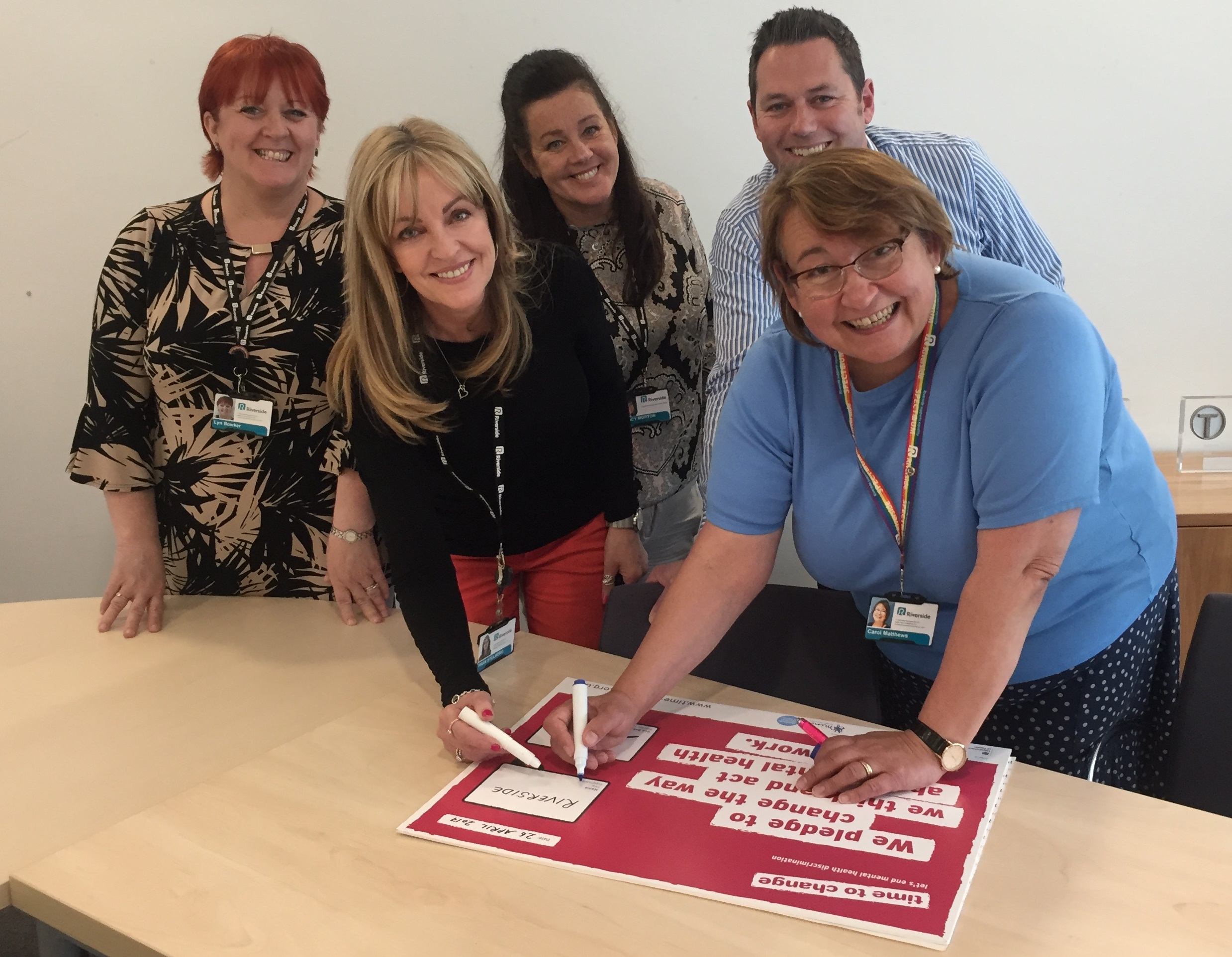 Riverside's Chief Executive Carol Matthews signs up to the Time to Change employer pledge