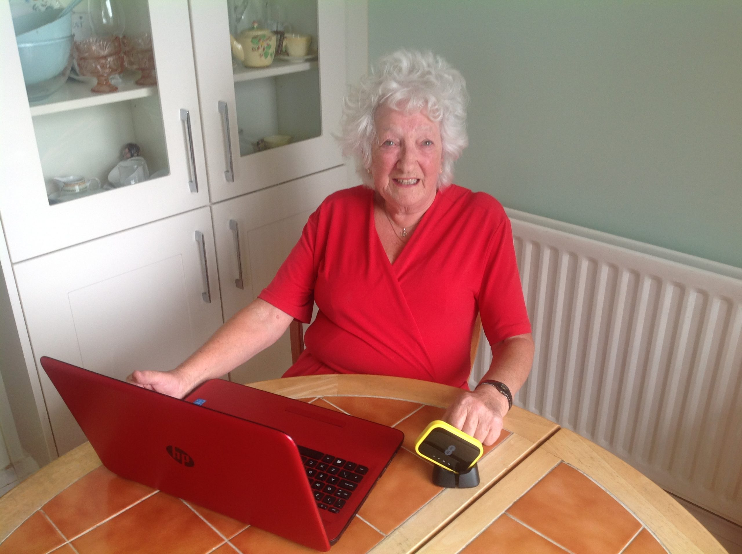 Nikki Moss from Riverside's Ashton Court retirement living scheme in Birkdale was given a Mi-fi unit for her laptop so she can surf the internet anywhere she likes.